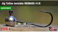 Barbless Jig Teflon Invisible REDBASS # 1/0, 5 pcs