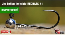 Barbless Jig Teflon Invisible REDBASS # 1, 5 pcs
