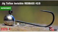 Barbless Jig Teflon Invisible REDBASS # 2/0, 5 pcs