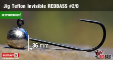 Barbless Jig Teflon Invisible REDBASS # 2/0, 5 pcs