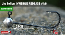 Barbless Jig Teflon Invisible REDBASS # 4/0, 5 pcs