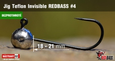 Barbless Jig Teflon Invisible REDBASS # 4, 5 pcs
