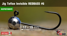 Barbless Jig Teflon Invisible REDBASS # 6, 5 pcs