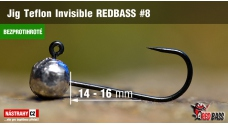 Barbless Jig Teflon Invisible REDBASS # 8, 5 pcs
