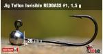 Jig Teflon Invisible RedBass #1 - 1,5 g, 5 pcs