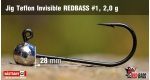 Jig Teflon Invisible RedBass #1 - 2,0 g, 5 pcs