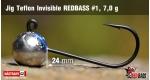 Jig Teflon Invisible RedBass #1 - 7,0 g, 5 pcs