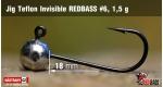 Jig Teflon Invisible RedBass #6 - 1,5 g, 5 pcs