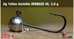 Jig Teflon Invisible RedBass #6 - 2,0 g, 5 pcs