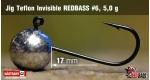 Jig Teflon Invisible RedBass #6 - 5,0 g, 5 pcs