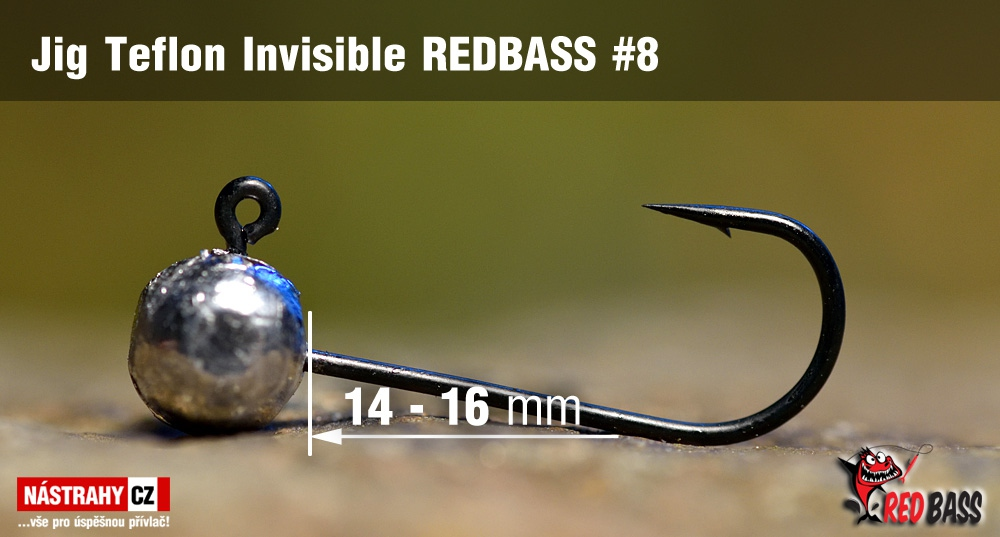 Stand Up Jig Teflon Invisible REDBASS # 8, 5 pcs
